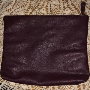 Free People Vegan Pleather Maroon Zip Laptop Case